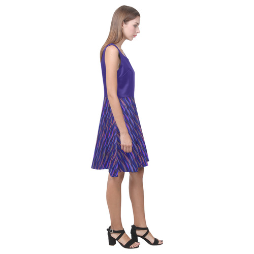 Purple and Blue Triangle Peaks Hebe Casual Sundress (Model D11)