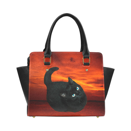 Cat and Red Sky Classic Shoulder Handbag (Model 1653)