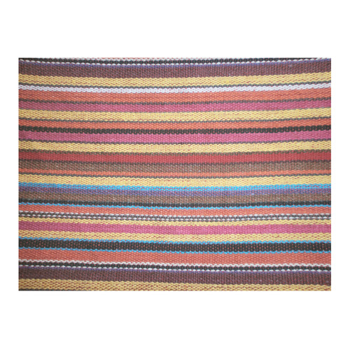 "Traditional WOVEN STRIPES FABRIC - colored Cotton Linen Tablecloth 52""x 70"""