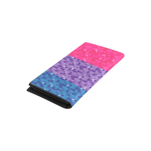 Bisexual Pixel Flag Women's Leather Wallet (Model 1611)