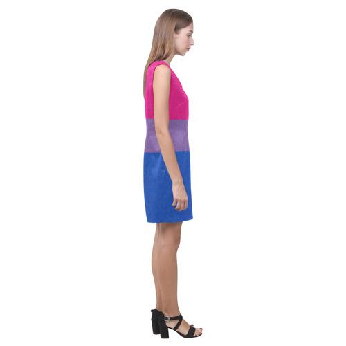 Bisexual Pride Flag Phoebe Sleeveless V-Neck Dress (Model D09)