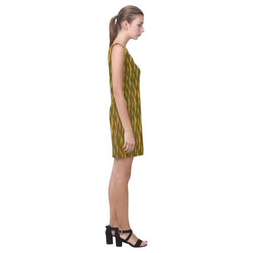 Autumn Gold and Green Triangle Peaks Medea Vest Dress (Model D06)
