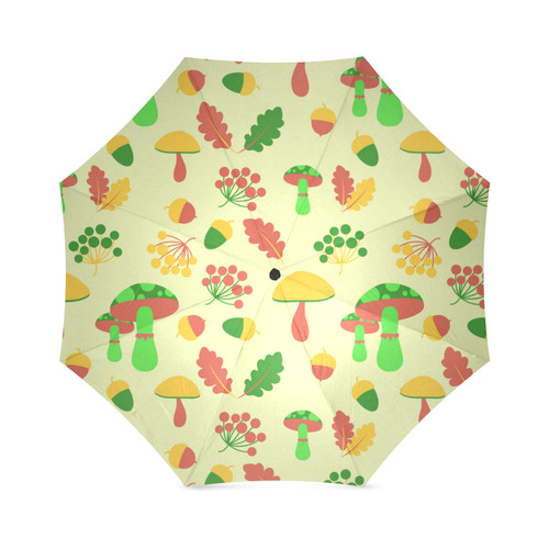 Colorful Autumn Nature Pattern Mushrooms Foldable Umbrella (Model U01)