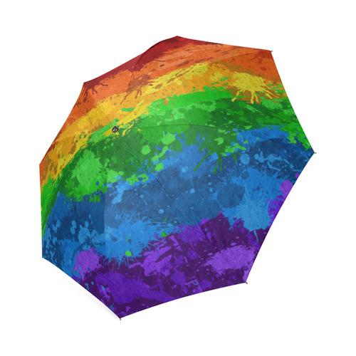 Rainbow Paint Splatter Flag Foldable Umbrella (Model U01)