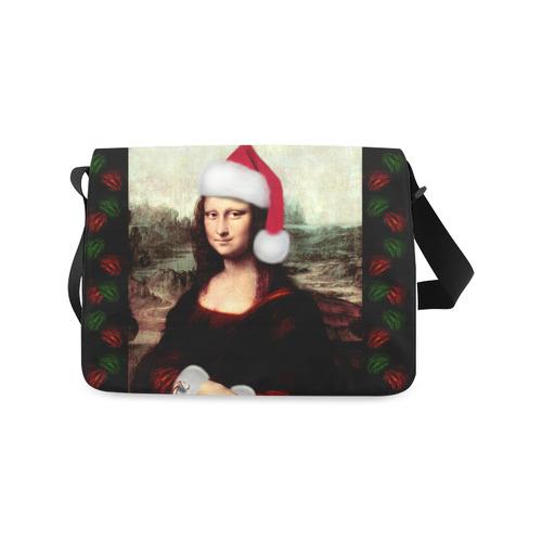 Christmas Mona Lisa with Santa Hat Messenger Bag (Model 1628)