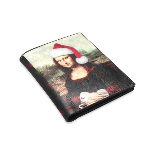 Christmas Mona Lisa with Santa Hat Men's Leather Wallet (Model 1612)