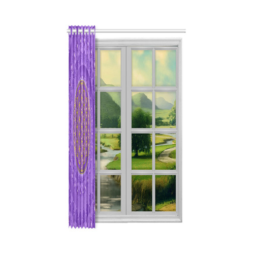 "FLOWER OF LIFE gold POWER SPIRAL purple Window Curtain 52"" x 72""(One Piece)"