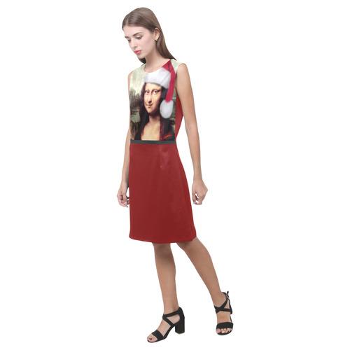 Christmas Mona Lisa with Santa Hat Eos Women's Sleeveless Dress (Model D01)