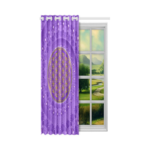 "FLOWER OF LIFE gold POWER SPIRAL purple New Window Curtain 52"" x 72""(One Piece)"