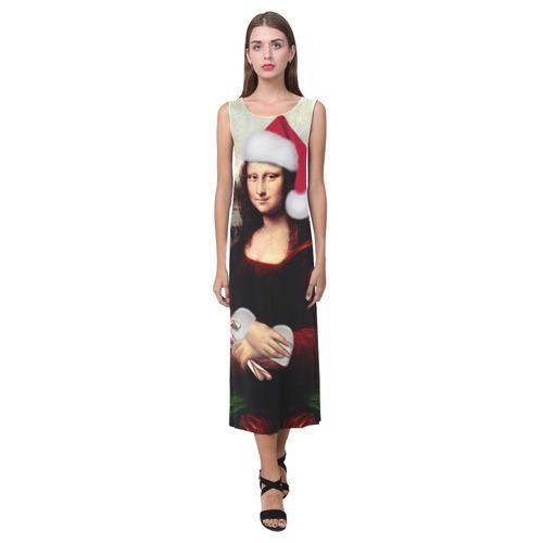 Christmas Mona Lisa with Santa Hat Phaedra Sleeveless Open Fork Long Dress (Model D08)