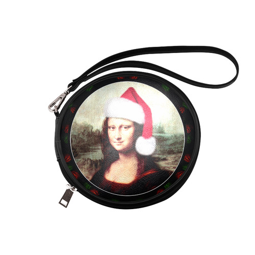 Christmas Mona Lisa with Santa Hat Round Makeup Bag (Model 1625)