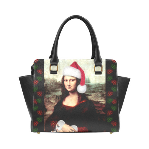 Christmas Mona Lisa with Santa Hat Rivet Shoulder Handbag (Model 1645)