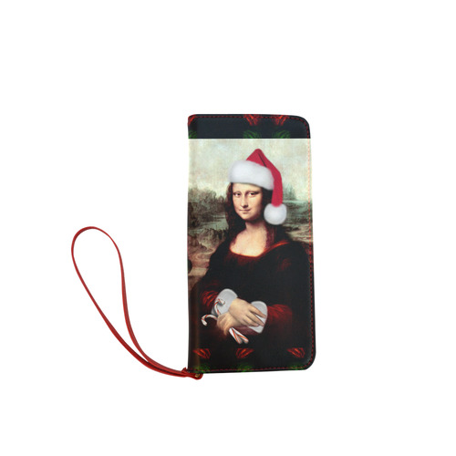 Christmas Mona Lisa with Santa Hat Women's Clutch Wallet (Model 1637)