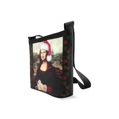 Christmas Mona Lisa with Santa Hat Crossbody Bags (Model 1613)