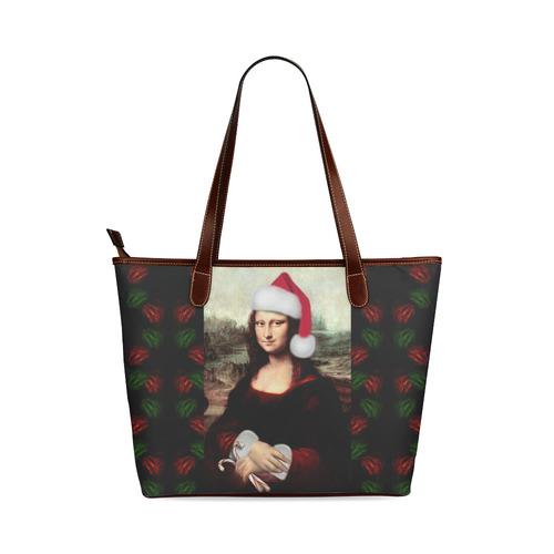Christmas Mona Lisa with Santa Hat Shoulder Tote Bag (Model 1646)