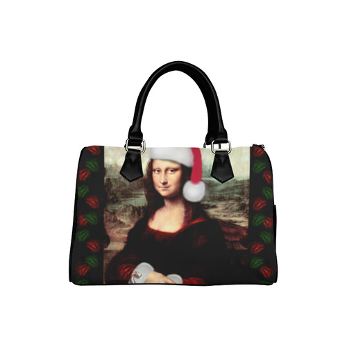 Christmas Mona Lisa with Santa Hat Boston Handbag (Model 1621)