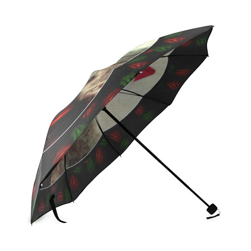 Christmas Mona Lisa with Santa Hat Foldable Umbrella