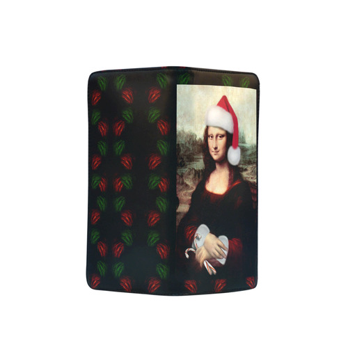 Christmas Mona Lisa with Santa Hat Men's Clutch Purse (Model 1638)