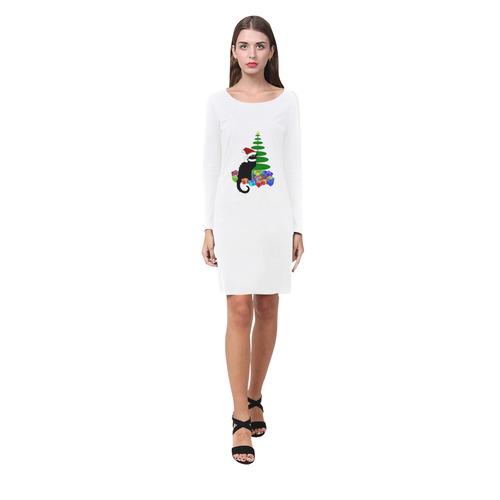 Christmas Le Chat Noir with Santa Hat Demeter Long Sleeve Nightdress (Model D03)