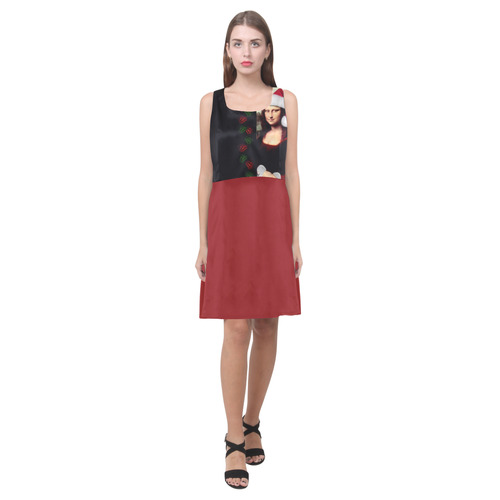 Christmas Mona Lisa with Santa Hat Hebe Casual Sundress (Model D11)