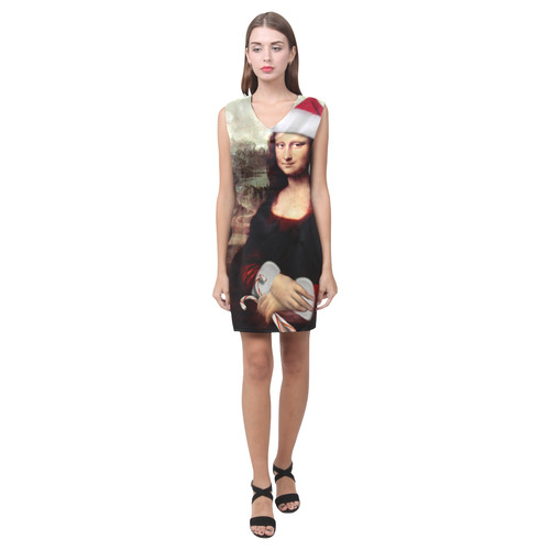 Christmas Mona Lisa with Santa Hat Phoebe Sleeveless V-Neck Dress (Model D09)