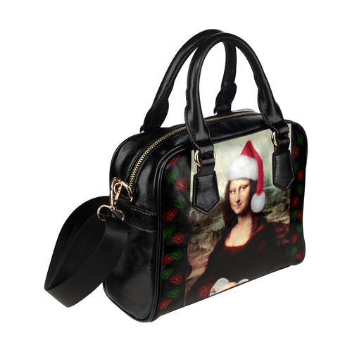 Christmas Mona Lisa with Santa Hat Shoulder Handbag (Model 1634)