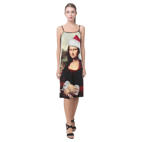 Christmas Mona Lisa with Santa Hat Alcestis Slip Dress (Model D05)