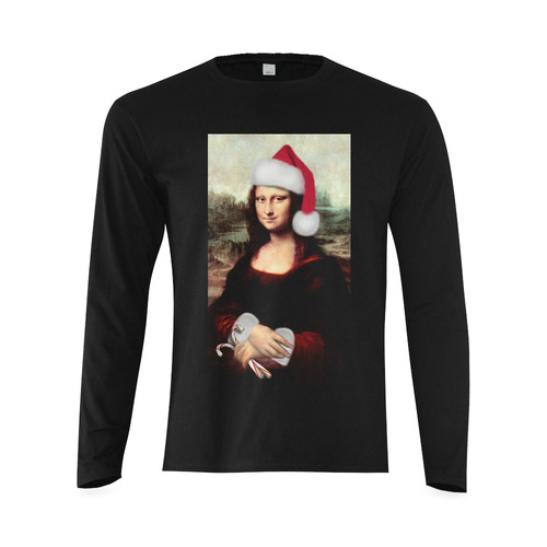 Christmas Mona Lisa with Santa Hat Sunny Men's T-shirt (long-sleeve) (Model T08)