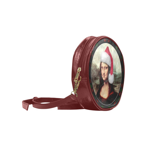 Christmas Mona Lisa with Santa Hat Round Sling Bag (Model 1647)