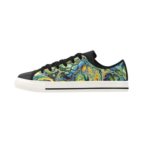 Flower Power Fractal Batik Teal Yellow Blue Salmon Aquila Microfiber Leather Women's Shoes (Model 028)