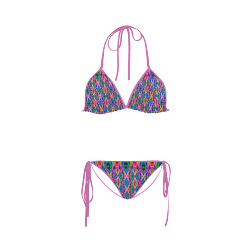 Groovy Psychedelic Pink/Blue Abstract Custom Bikini Swimsuit