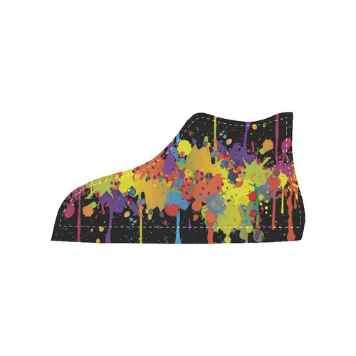 CRAZY multicolored double running SPLASHES Women's High Top Canvas Shoes (Model 002)