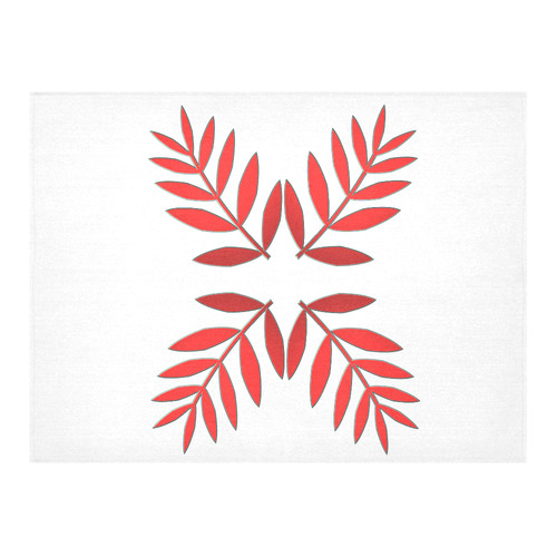 Metallic Autumn Red Ash Tree Leaves Cotton Linen Tablecloth 52