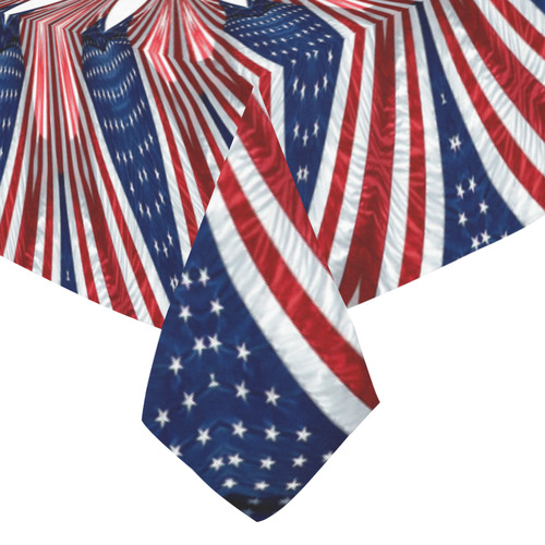 "PATRIOTIC: United States Flag Mandala 1 Cotton Linen Tablecloth 52""x 70"""