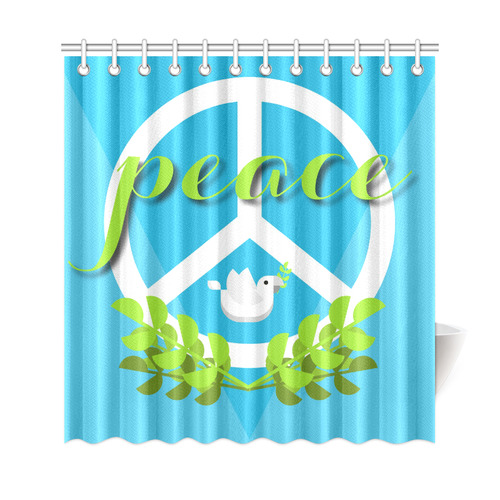 Peace Sign White Dove Olive Branch Shower Curtain 69x72