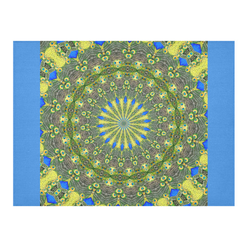 """Peacock Feathers Mandala Abstract 1 Cotton Linen Tablecloth 52""""x 70"""""""
