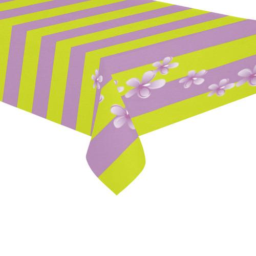 """Lavender Stripes Cotton Linen Tablecloth 60""""x 104"""""""
