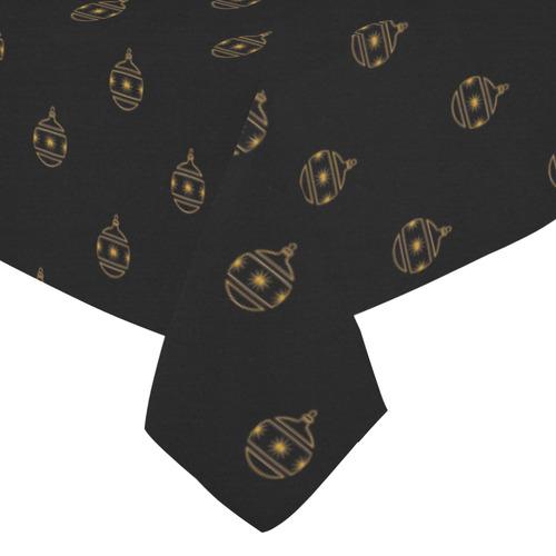 "HOLIDAYS +: Golden Christmas Ornaments on Black Cotton Linen Tablecloth 52""x 70"""
