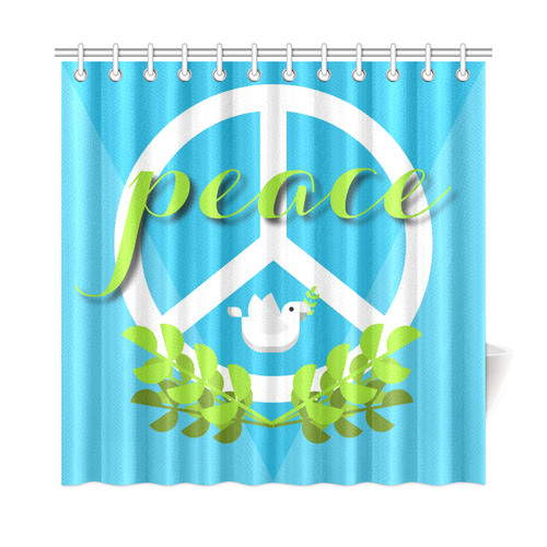 Peace Sign White Dove Olive Branch Shower Curtain 72x72