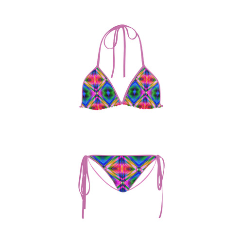 Groovy Psychedelic Diamonds (Pinks and Blues) Custom Bikini Swimsuit