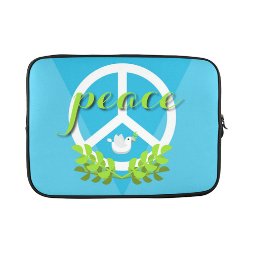 Peace Sign White Dove Olive Branch Custom Laptop Sleeve 15''