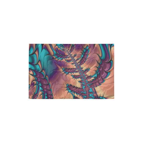 """fractal,freaky friday  peach aqua Area Rug 2'7""""x 1'8''"""