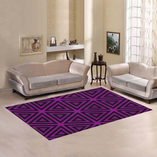 Purple/Black Triangular Pattern Area Rug7'x5'