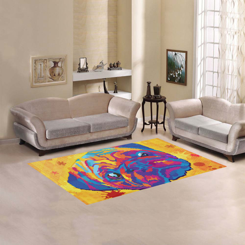 pop art pug Area Rug 5'x3'3''