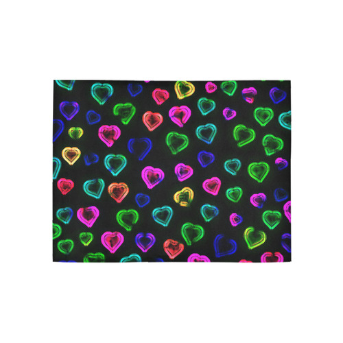 blurry neon hearts Area Rug 5'3''x4'