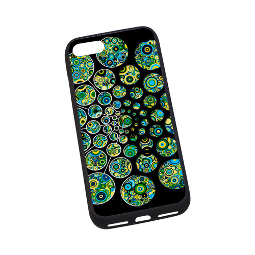 """Flower Power CIRCLE Dots in Dots cyan yellow black Rubber Case for iPhone 7 4.7"""""""