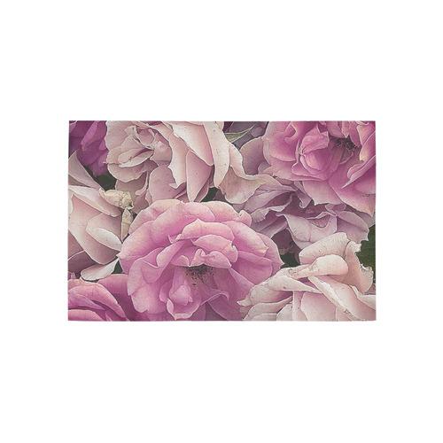 great garden roses pink Area Rug 5'x3'3''
