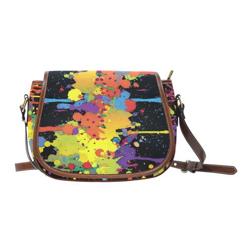 CRAZY multicolored double running SPLASHES Saddle Bag/Small (Model 1649) Full Customization
