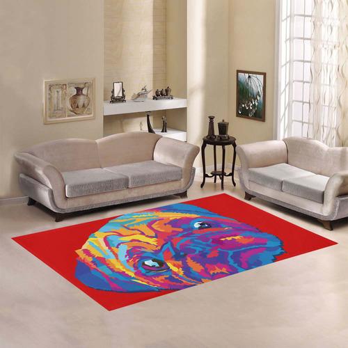 pop art pug Area Rug7'x5'