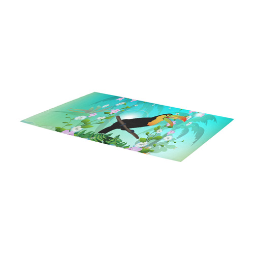 Cute toucan with flowers Area Rug 7'x3'3''